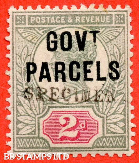 SG. 070 s. L25 s. 2d grey - green & carmine - red. GOVT. PARCELS. A fine lightly mounted mint example overprinted SPECIMEN type 9.