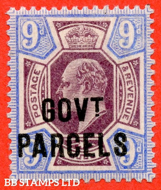 """SG. 077. MO12. 9d dull purple & ultramarine. """" Govt. Parcels """". A superb UNMOUNTED MINT example."""