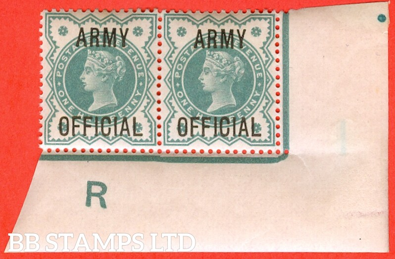 "SG. 042. L37. ½d Blue - green. "" ARMY OFFICIAL "". A superb UNMOUNTED MINT control "" R imperf "" corner marginal horizontal pair."