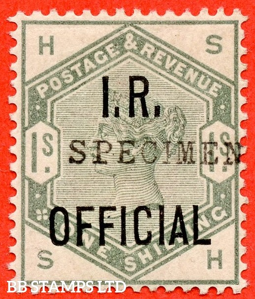 "SG. 07. "" SH "". 1/- Dull Green "" I.R. Official "". A very fine lightly mounted mint example overprinted "" specimen "" with good strong colour and excellent perfs."