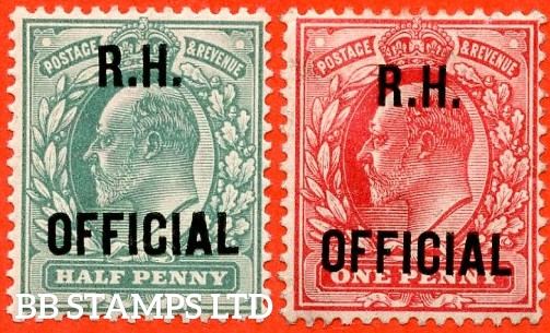 "SG. 091 & 092. MO28 & MO29. ½d blue green & 1d scarlet. "" R.H OFFICIAL "". A super UNMOUNTED MINT set of 2 of these scarce Officials."