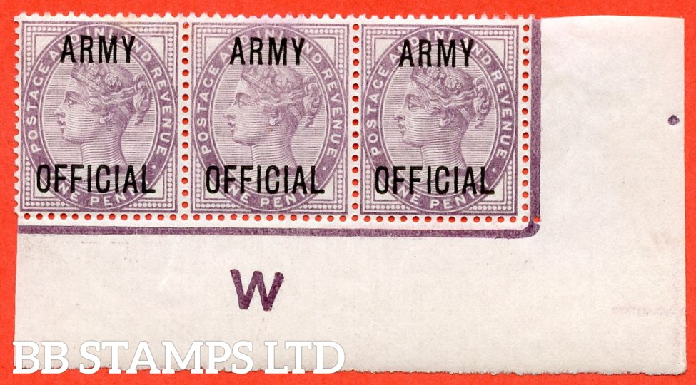 """SG. 043 -- L38. 1d Lilac. """" ARMY OFFICIAL """". A superb UNMOUNTED MINT control """" W imperf """" corner marginal strip of 3. A very scarce multiple these days."""