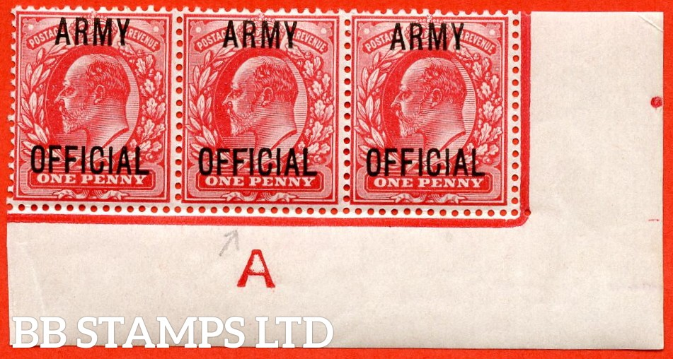 """SG. 049. MO20 j. 1d scarlet """" Army Official """". A superb UNMOUNTED MINT control """" A imperf """" bottom right hand corner marginal strip of 3 with the scarce and underrated """" Long top to second ' F ' """" listed variety."""