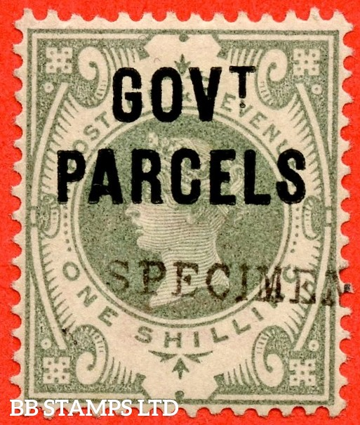 "SG. 068 s. L29 s. 1/- dull green. "" Govt. Parcels "". A fine UNMOUNTED MINT example overprinted "" SPECIMEN "" type 9."
