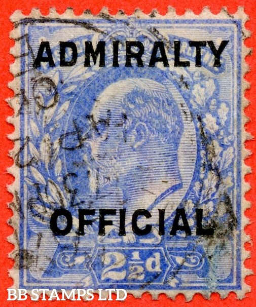 SG. 0111. 2½d Ultramarine. Admiralty official. A very fine used example of this very scarce Edwardian Official overprint.