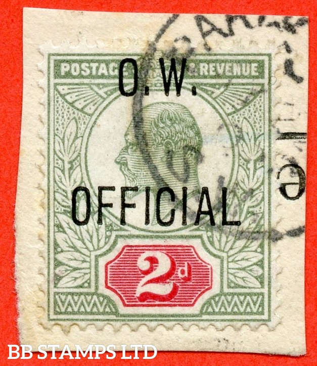 """SG. 038. MO16. Yellowish green & Carmine red. O.W. OFFICIAL. A very fine """" PARLIAMENT STREET """" CDS used example of this very scarce Edwardian Official complete with RPS certificate."""