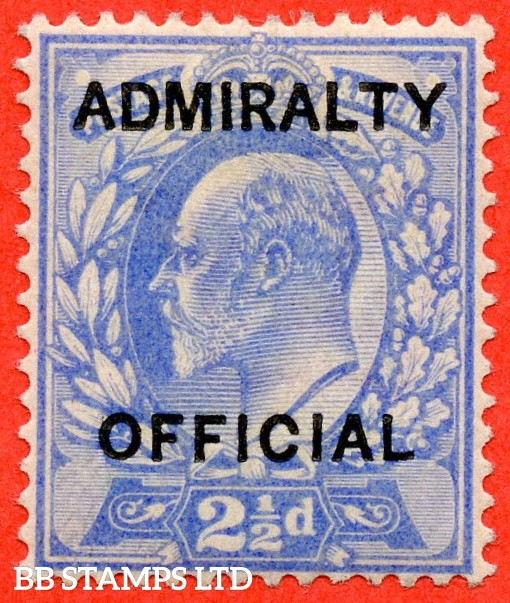 "SG. 0105. M034. 2½d ultramarine. "" Admiralty Official "" Type I. A very fine UNMOUNTED MINT example of this difficult stamp."
