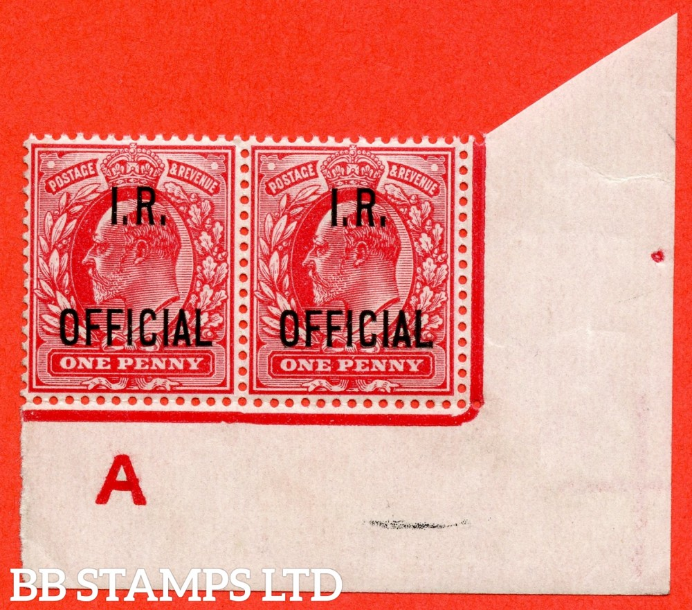 "SG. 021. MO2. 1d scarlet "" IR Official "". A fine UNMOUNTED MINT control "" A imperf "" continous rule pair. A very scarce pair."