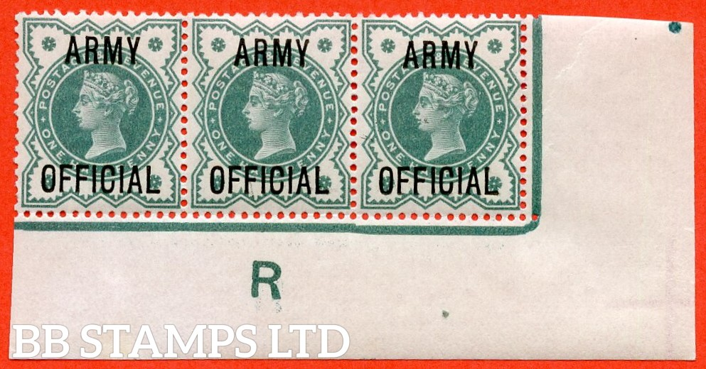 "SG. 042. L37. ½d Blue - green. "" ARMY OFFICIAL "". A superb UNMOUNTED MINT control "" R imperf "" corner marginal strip of 3. A very scarce strip these days."