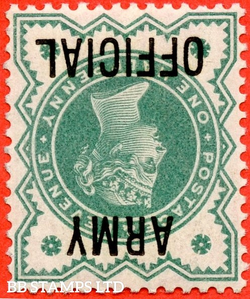 SG. 042 wi. L37 a. ½d Blue - green. INVERTED WATERMARK. ARMY OFFICIAL.  A super UNMOUNTED MINT example which is only the second we have seen in 26 years.