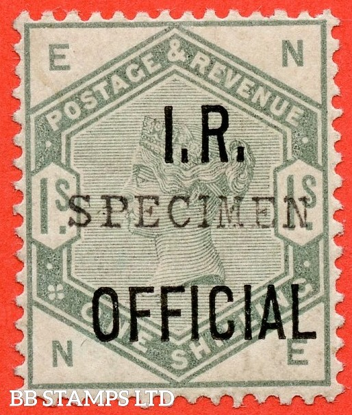 "SG. 07 s. L6 s. "" NE "". 1/- Dull Green "" I.R. Official "". A fine mounted mint example overprinted "" SPECIMEN "" type 9."