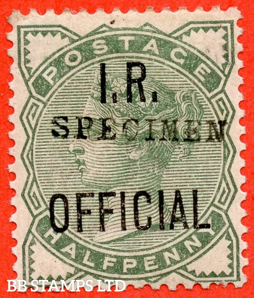 SG. 02 s. L1 (2) s. ½d pale green. I.R Official. A fine mounted mint example overprinted with SPECIMEN type 9.