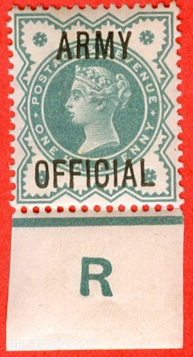 "SG. 042. L37. ½d Blue - green. "" ARMY OFFICIAL "". A superb lightly mounted mint control "" R imperf "" example."