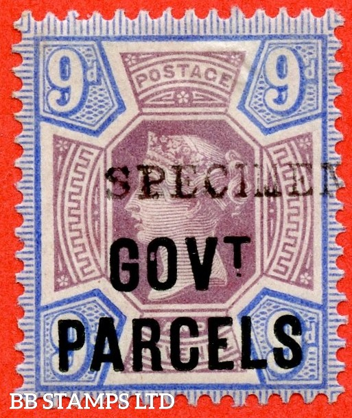 """SG. 067 s. L28 s. 9d Dull purple & blue. A fine mounted mint example overprinted """" SPECIMEN """" type 9."""