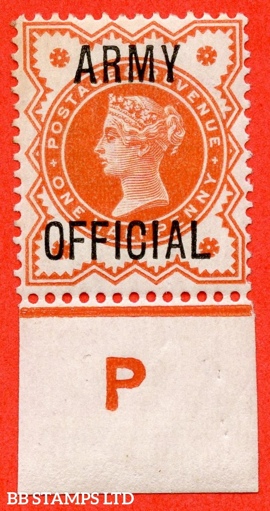 """SG. 041. L36. ½d Vermilion. """" ARMY OFFICIAL """". A fine mounted mint control """" P imperf """" example."""