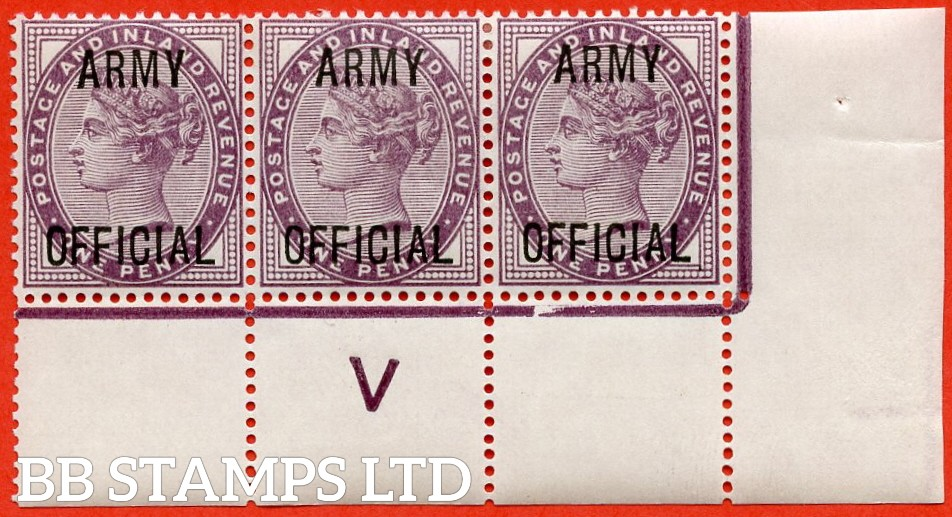 """SG. 043 -- L38. 1d Lilac. """" ARMY OFFICIAL """". A superb lightly mounted control """" V -- perf """" corner marginal strip of 3. A very scarce multiple these days."""