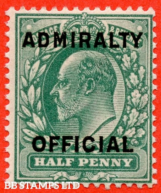 SG. 0107. MO36. ½d blue green. Admiralty Official Type II. A very fine UNMOUNTED MINT example.