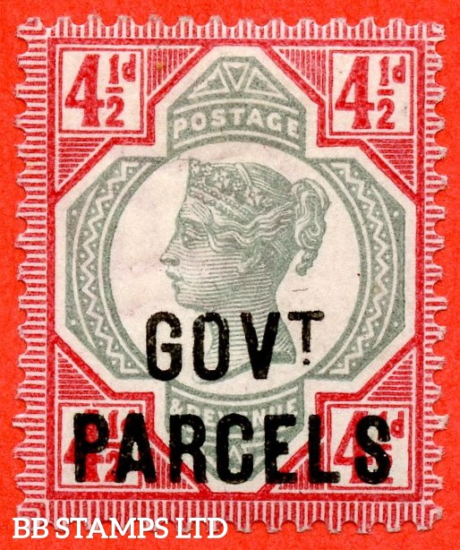 SG. 071. L26. 4½d Green & carmine. GOVT. PARCELS. A superb UNMOUNTED MINT example of this difficult mint Official.