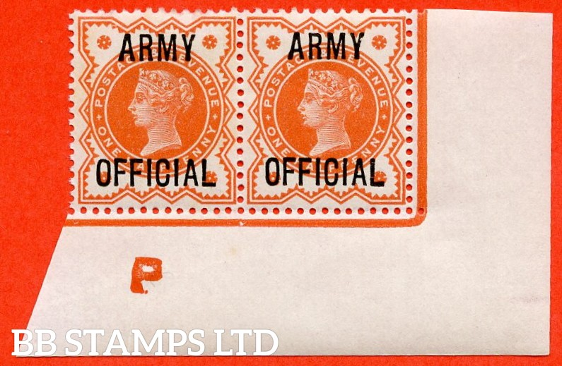 "SG. 041. L36. ½d Vermilion. "" ARMY OFFICIAL "". A fine mounted mint control "" P imperf "" bottom right hand corner marginal pair."