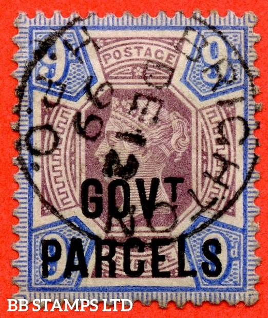 "SG. 067. L28. 9d Dull purple & blue. GOVT. PARCELS. A fine "" 12th December 1899 BRIGHTON "" CDS used example."