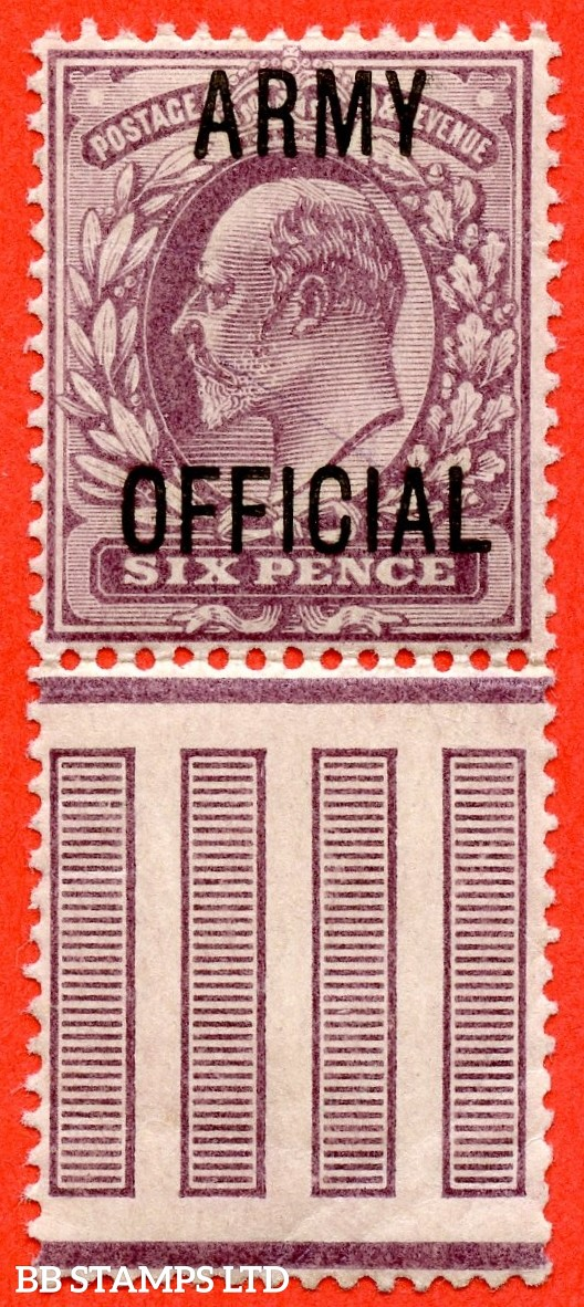 """SG. 050. MO21. 6d Pale dull purple. """" Army Official """". A very fine UNMOUNTED MINT interpanneau marginal example."""