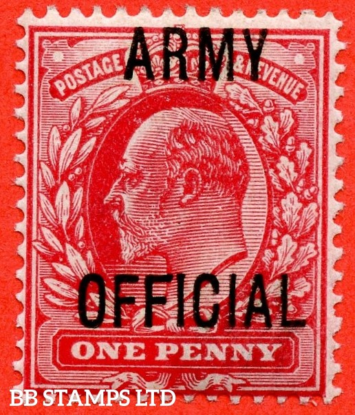 "SG. 049. MO20 j. 1d scarlet "" Army Official "". A superb UNMOUNTED MINT example with the scarce and underrated "" Long top to second ' F ' "" listed variety."