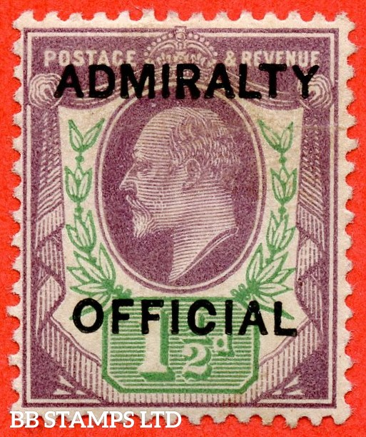 SG. 0103.  MO32. 1½d Dull purple & green. Admiralty Official. Type 1. A superb UNMOUNTED MINT example of this difficult stamp.