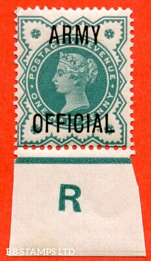 "SG. 042 -- L37. ½d Blue - Green. "" ARMY OFFICIAL "".  A very fine UNMOUNTED MINT Control "" R imperf "" example."
