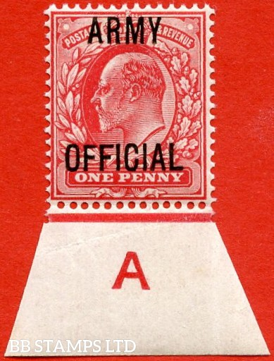 """SG. 049. MO20. 1d scarlet """" Army Official """". A fine UNMOUNTED MINT control """" A imperf """" continuous rule example."""