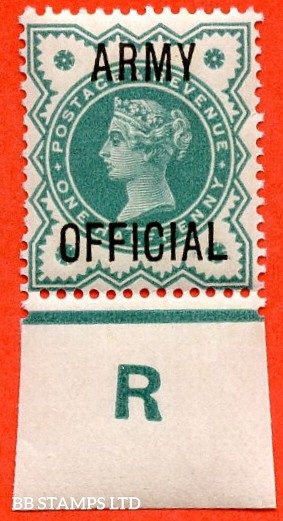 """SG. 042 -- L37. ½d Blue - Green. """" ARMY OFFICIAL """".  A very fine UNMOUNTED MINT Control """" R imperf """" example."""
