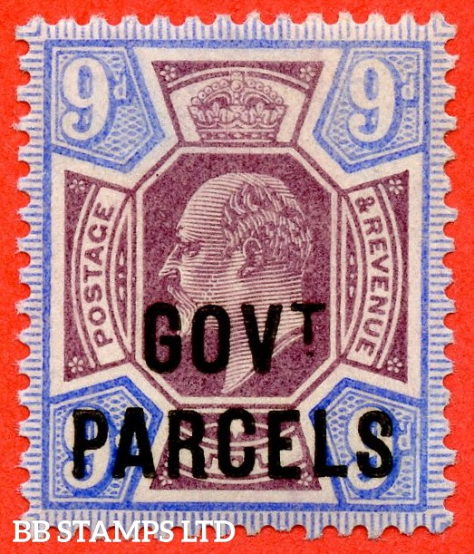 "SG. 077. 9d dull purple & ultramarine. "" Govt. Parcels "". A superb UNMOUNTED MINT example."