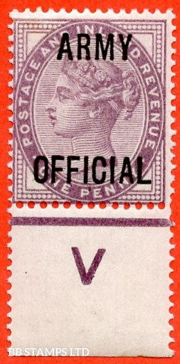 """SG. 043 -- L38. 1d Lilac. """" ARMY OFFICIAL """". A superb UNMOUNTED MINT control """" V perf """" example."""