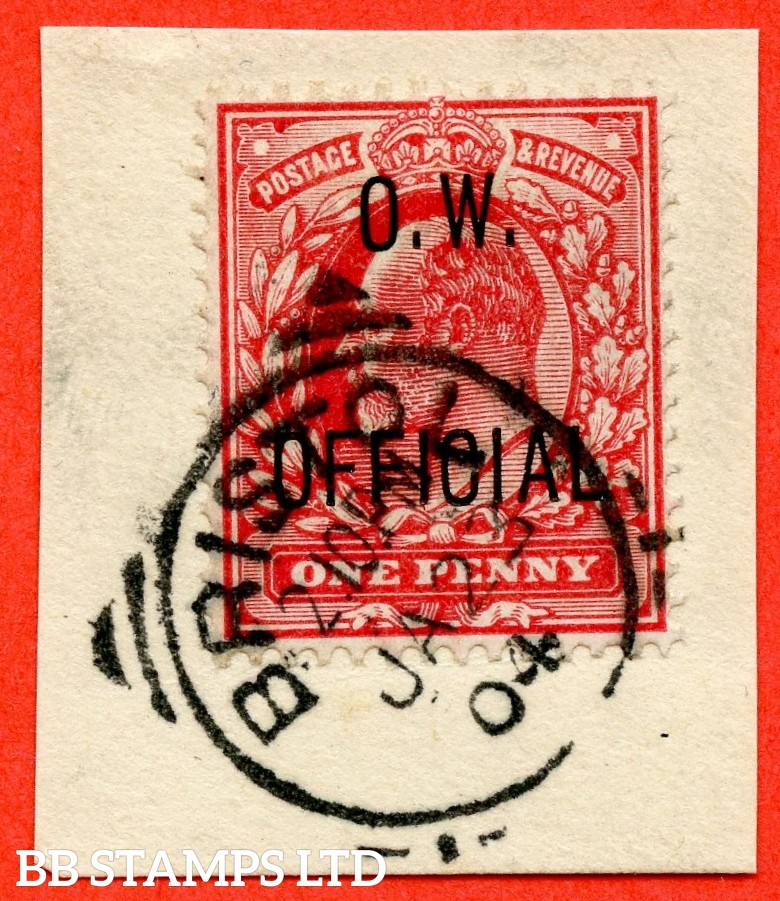 "SG. 037. 1d scarlet. "" O.W. OFFICIAL "". A very fine "" 23rd January 1904 BRISTOL "" CDS used example on small piece complete with Bransdon certificate."