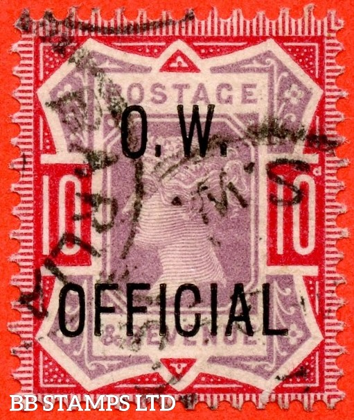 "SG. 035. L35. 10d Dull Purple & Carmine overprinted "" O.W. OFFICIAL "". A very fine CDS used example of this scarce stamp complete with BPA certificate."