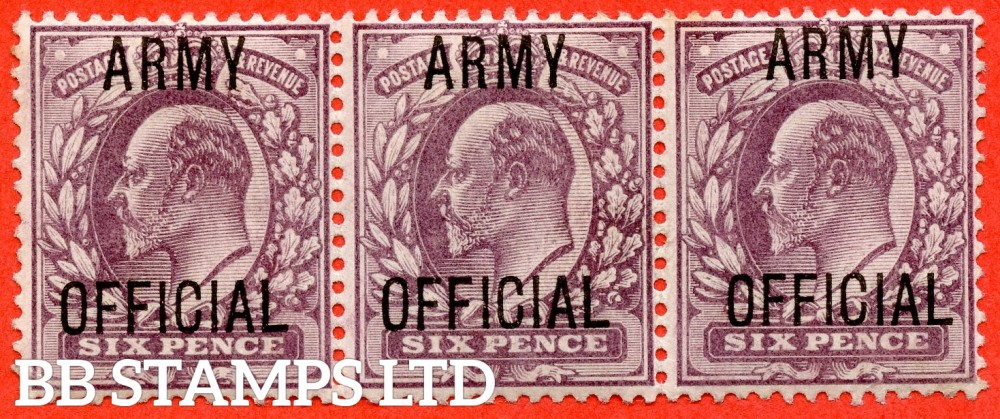 "SG. 050. MO21. 6d Pale dull purple. "" Army Official "". A very fine UNMOUNTED MINT horizontal strip of 3. A scarce multiple."