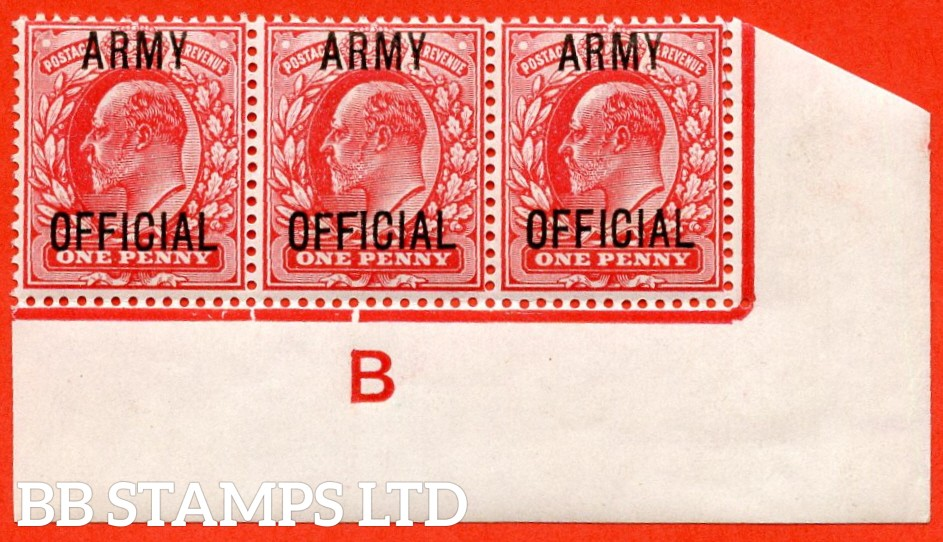 "SG. 049. MO20 j. 1d scarlet "" Army Official "". A superb UNMOUNTED MINT control "" B imperf "" bottom right hand corner marginal strip of 3 with the scarce and underrated "" Long top to second ' F ' "" listed variety."