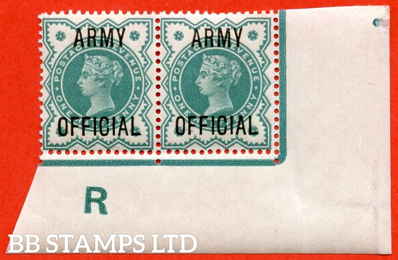 "SG. 042 -- L37. ½d Blue - Green. "" ARMY OFFICIAL "".  A very fine UNMOUNTED MINT Control "" R imperf "" corner marginal pair from the scarce "" single perf extension in lower margin "" perf type."