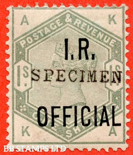 "SG. 07 s. L6 s. "" KA "". 1/- Dull Green "" I.R. Official "". A very fine lightly mounted mint example overprinted "" SPECIMEN "" type 9."