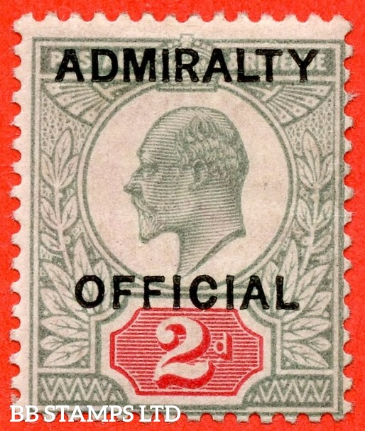 SG. 0104. MO33. 2d Yellowish green & Carmine red. Admiralty Official type 1. A super UNMOUNTED MINT example of this scarce Official.