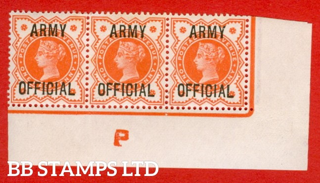 "SG. 041 -- L36. ½d Vermilion. "" ARMY OFFICIAL "". A super lightly mounted mint control "" P "" corner marginal strip of 3, a very scarce strip these days."