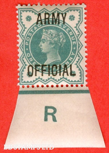 """SG. 042. L37. ½d Blue - green. """" ARMY OFFICIAL """". A superb UNMOUNTED MINT control """" R imperf """" example."""