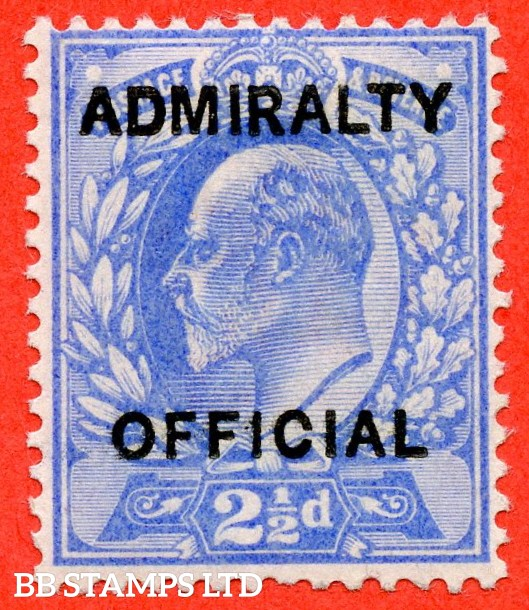 "SG. 0105. M034. 2½d ultramarine. "" Admiralty Official "" Type II. A very fine UNMOUNTED MINT example of this difficult stamp."