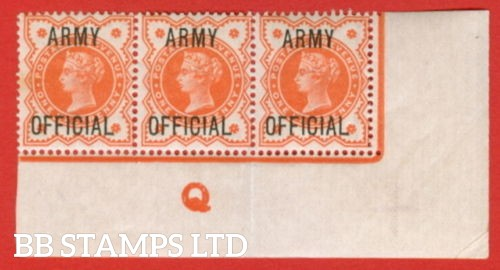 """SG. 041 -- L36. ½d Vermilion. """" ARMY OFFICIAL """". A super lightly mounted mint control """" Q """" corner marginal strip of 3, a very scarce strip these days."""