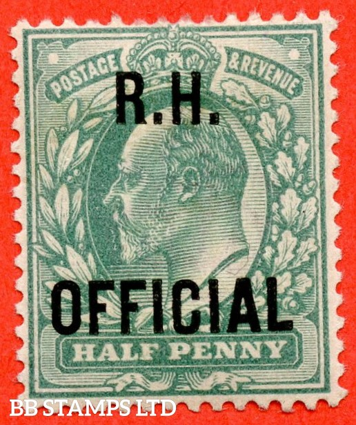 """SG. 091. MO28. ½d blue green. """" R.H OFFICIAL """". A super UNMOUNTED MINT example of this scarce Official."""