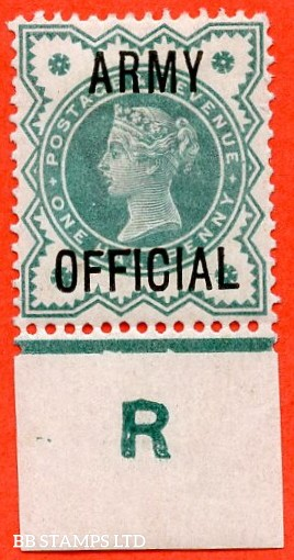 "SG. 042 -- L37. ½d Blue - green. "" ARMY OFFICIAL "".  A very fine mint control "" R "" EXAMPLE."