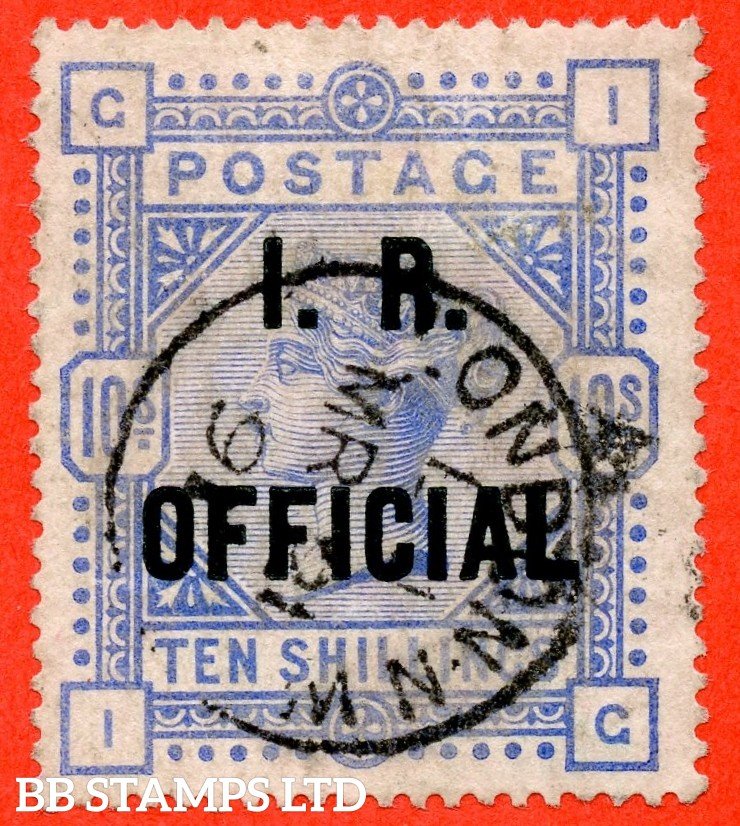 "SG. 010. L8 (4). "" IG "". 10/- Ultramarine. A very fine "" March 21st 1891 LONDON "" CDS used example."