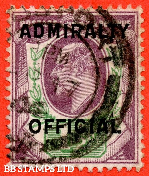 SG. 0109. 1½d Dull purple & green. Admiralty Official Type II. A Very fine used example of this scarce Edwardian Official.