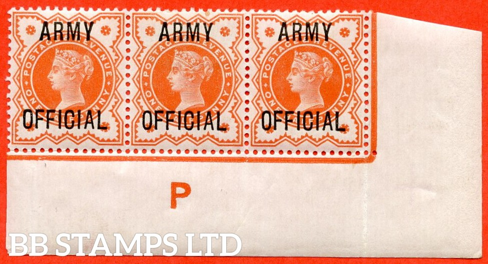 "SG. 041. L36. ½d Vermilion. "" ARMY OFFICIAL "". A fine mounted mint control "" P imperf "" strip of 3."
