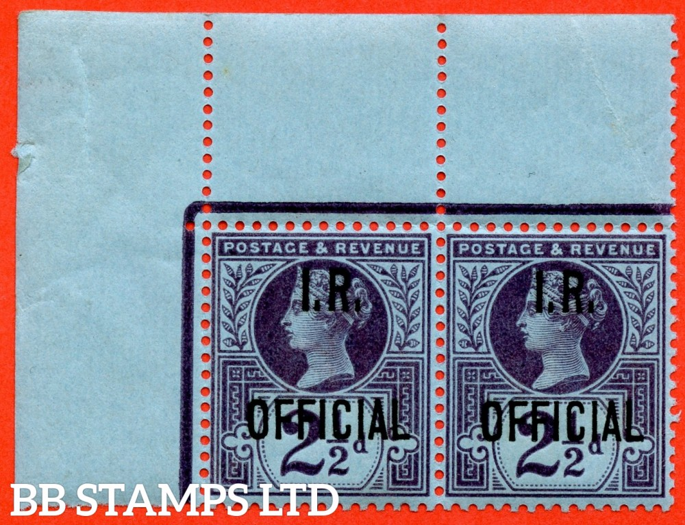 SG. 014. L14. 2½d purple / blue. I.R Official. A super UNMOUNTED MINT top left hand corner marginal horizontal pair.