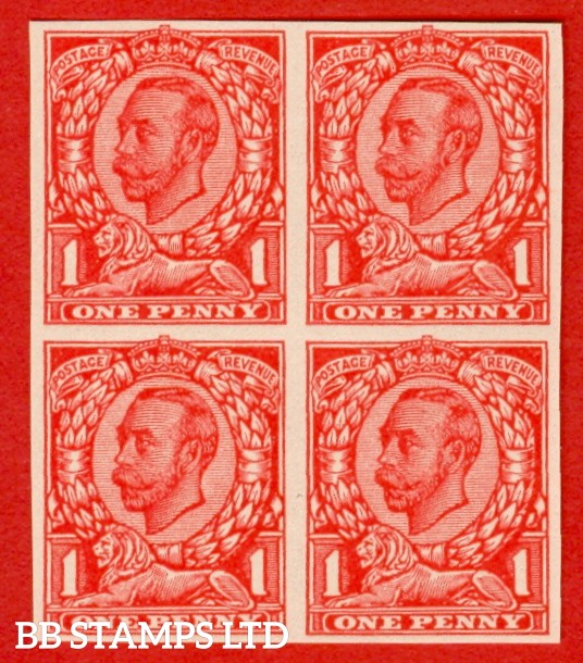 "1912 1d Scarlet ( Die II ). A very fine block of four of the "" John Allen Paper Trial "".  Variety "" F "" on page 168 of SG specialised catalogue. """